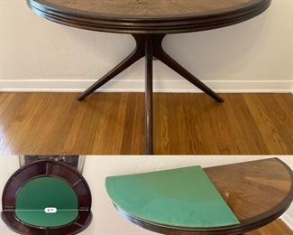 Custom made in Chile, Mid-Century Half-Round Flip-Top Game Table with Gate-leg (needs repair) includes pads