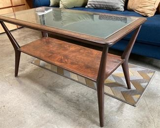 Custom Mid-Century Cocktail Table Inset Glass and Lower Shelf (imported from Chile)