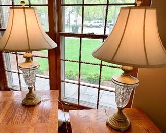 """(2) 34"""" High Crystal Base Lamps. $35 each both for $60"""