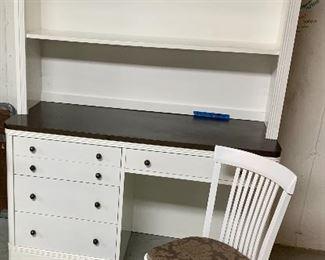 "52""w x 20d x 32h White Desk w/ Glide Runner Drawers bronze/brown Top.  Height w/ bookshelf 77""$135  (includes book shelf top) Sturdy White Matching Chair $20"