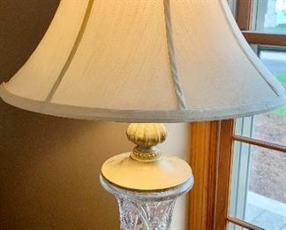 """2 - 32"""" Crystal Base, Lined Shade Table Lamps $39 ea, both for $70"""