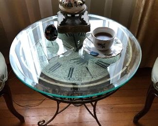 Unique table with clock under glass