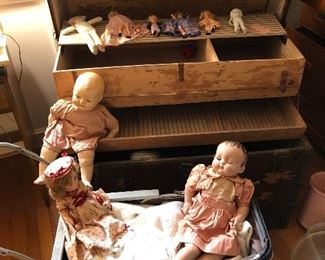 Antique compo doll and stroller
