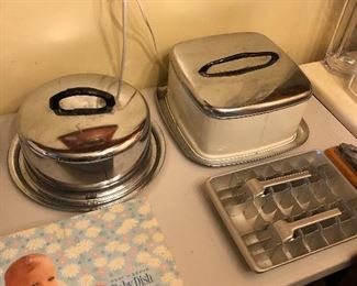 Vintage cake takers and vintage ice trays