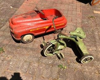 Pedal car and vintage tricycle
