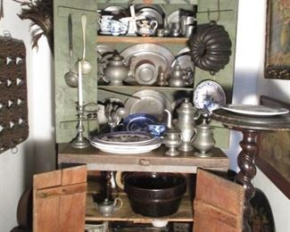 EARLY PAINTED CABINET,  AND OLD PEWTER (AMERICAN & ENGLISH)
