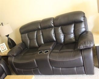 """Leather Love Seat with Both Sides Recline   $550                   W-75""""    D-38"""""""