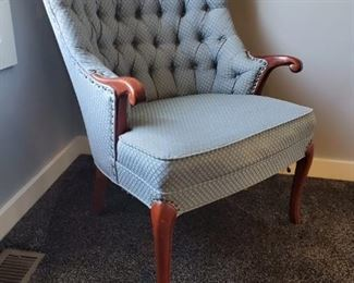 Vintage/Antique light blue sitting chair. 33in tall  x 26in deep. $180