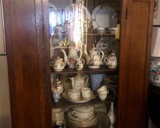Antique Display cabinet with porcelain collectibles