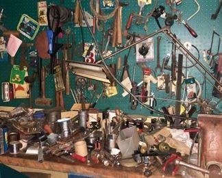 Loads of tools in the basement workshop & garage