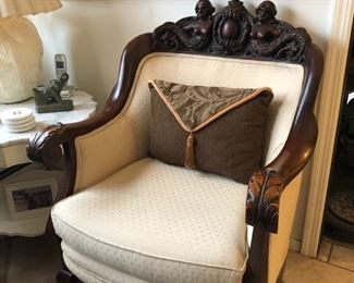 Hand carved antique chair with matching sofa