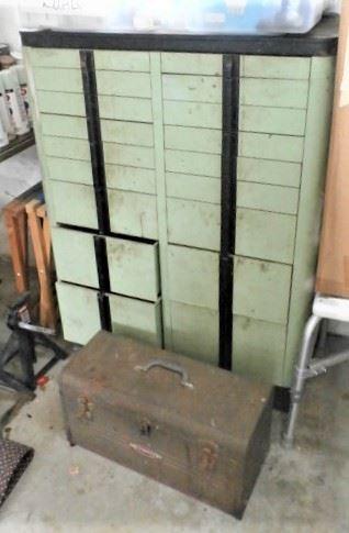 OLD DENTAL CABINET, TOOL BOX