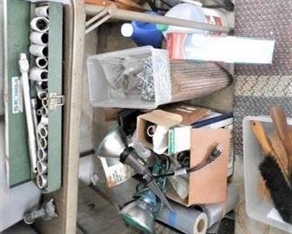 OUTDOOR SPOT LIGHTS, TOOLS, CHAIN, STOOLS, JACKS, AND SO MANY MORE TOOLS