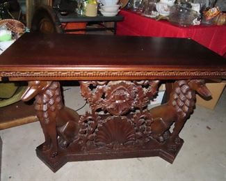 Hand-carved Mahogany Table - Pair Dogs on end.