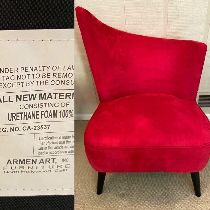 Modern Red Velvet Chair Armen Art Furniture
