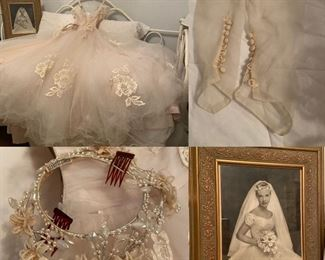 1950's Vintage Blush Wedding Gown, Veil & Gloves