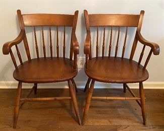 Pair Vintage Maple Spindle Back Arm Chairs