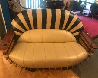 "Custom made ""Luxe"" leather love seat  made in Texas"
