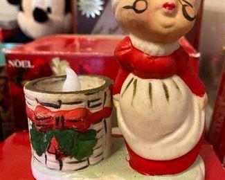 Vintage Mrs. Claus Candle Holder