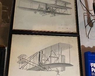 Early Plane Signed Pencil Sketches
