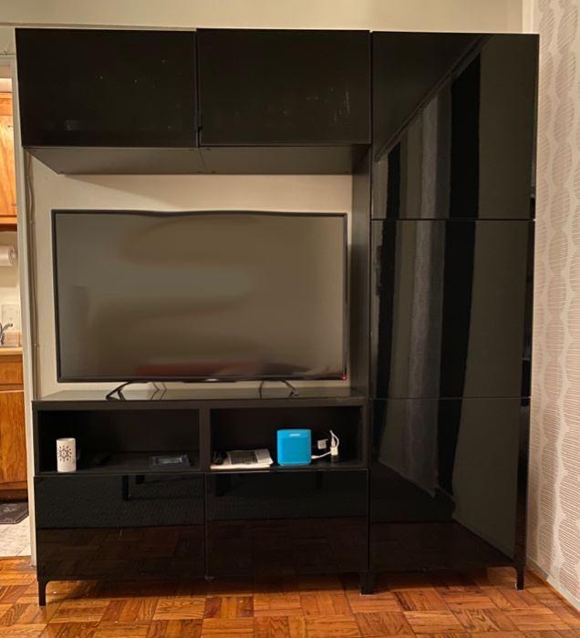 """Ikea Besta Entertainment Center $500 71"""" W 76"""" H 15 ½ D"""
