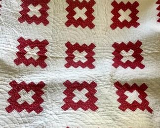 Red & white antique hand quilted quilt