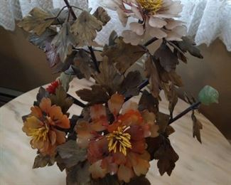 Chinese Hardstone Flowers and Leaves, Plant, Chrysanthemum Plant, in Soapstone or Jade Flower Pot Base, largest and finest Quality that we have seen,