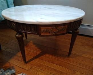 """Coffee Table, features a fine 36"""" Marble Top, Gold Gilt Style Decorations on the Carved Wood Frame and Legs, in very fine Vintage or Antique Condition, from 1920's NYC Collector's Estate,"""