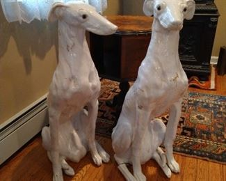 """Male Grayhound left and Female Grayhound right, both feature: approximately 34"""" Tall, Life-Like poses, and realistic Glass Eyes, rare and Extraordinary,"""