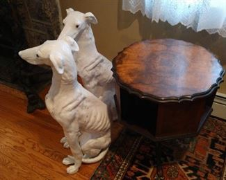 A Pair of Life Size Grayhounds, Dog Sculptures, in Remarkable Life-Like Detail, featuring a Male and a Female, please call us for pricing, with Life-Like Glass Eyes,