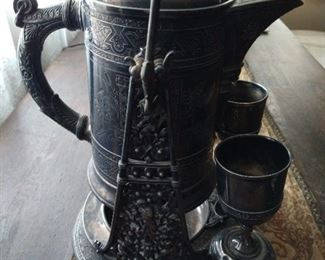 Antique American Silverplate Hot Water or Coffee or Beverages Urn, Stand, and Two Mounted Cups and Cup Holders, Dodge and Chevrolet watch out!