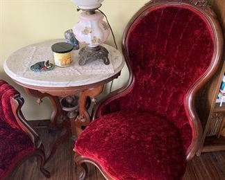 Walnut Victorian Parlout Chairs and Marbler Top Table