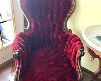 One of Two Victorian Walnut Parlour Chairs
