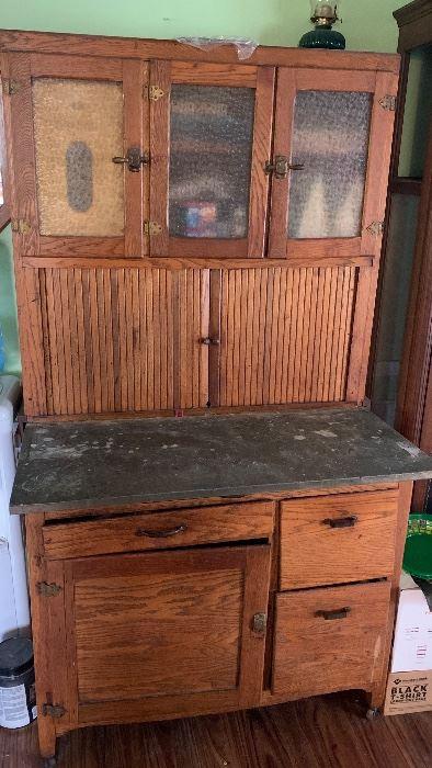 Antique Oak Hoosier Style Cabinet