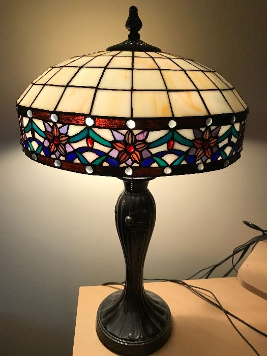 Tiffany style stained glass lamp circa 1950