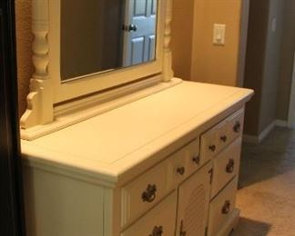 """#6.  $200.00   Dresser with mirror 75.5"""" with mirror 31.5"""" H without mirror X 56"""" X 19"""" Note:  Room as dark this is actually off white like the other furniture #1 and #3"""