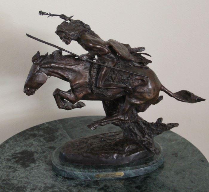 "#22.  $800.00  Frederic Remington 'Cheyenne' Vintage Cast Bronze Sculpture w/ Marble Base  20"" X 22"" X 9""        Reproduction 1980."