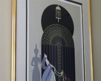 "#49.  $800.00   Erte ""Bird in a gilded cage"" serigraph print.  Signed L/R. Edition: CCXLVIII/CCCL (348/350). 49"" X 38"""