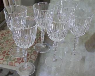 "#50  $240.00  Set 6 Tiffany wine glasses 8.5"" CHRYSANTHEMUM"