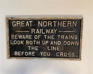 Original cast iron Great Northern Railway sign.