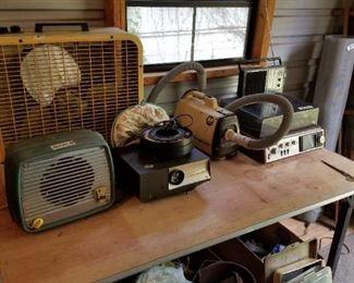 Fans, slide projector, vintage stereo