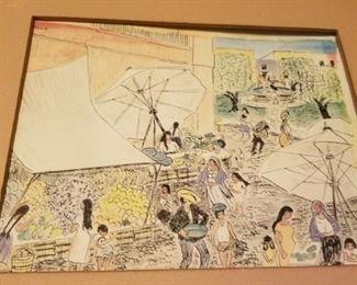 Pen and ink drawing of fruit market in San Miguel de Allende.