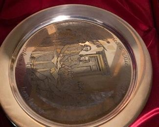 One of three Sterling Silver Plates
