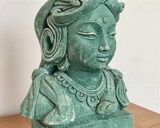 $120. Green Sandstone possibly Concrete, patina green, Stone Devi Tara Garden