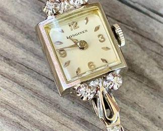 $1000. Vintage Longine Watch. 14K White gold. 10.5 g gross. Springwind.  COA avail.