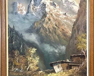 """$700.00 - Artist signed oil on canvas """"Himalayan Landscape"""" Large format. (minor condition issue). 45W 55H"""