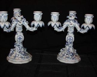 """#102. Meissen - pair of candlesticks - 9 3/5"""" tall - $1250"""
