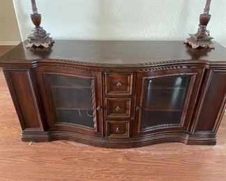 """Whalen Manhattan 66"""".  In like new condition, this Entertainment console is beautiful & elegant with lots of storage space.  Both solid face sides fold out for additional storage as well as the 3 working middle drawers."""