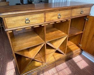 Stunning Solid Wood Bar with Upholstered Bar Stools & Brass Foot-rail.  Has keyed cabinet.