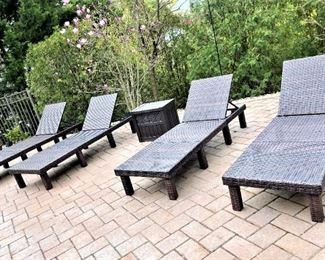 4 Outdoor weaved Loungers
